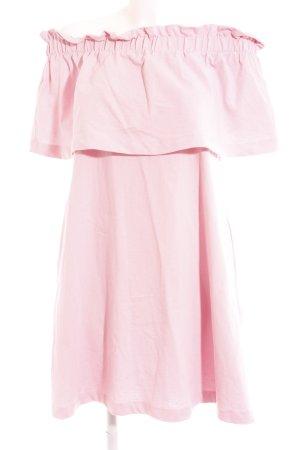 H&M Off the shoulder jurk stoffig roze casual uitstraling