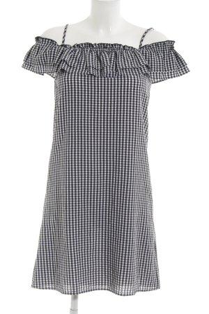 H&M Robe épaules nues blanc-noir motif Vichy style décontracté
