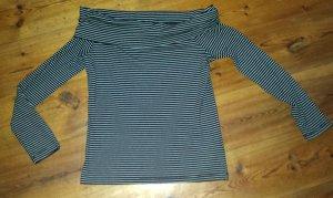 H&M Schulterfreies Shirt Off-Shoulder Shirt schwarz weiß Gr. L neu