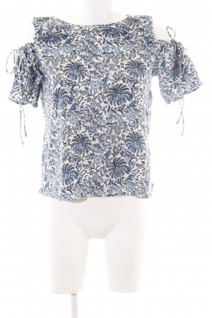 H&M Off-The-Shoulder Top white-blue abstract pattern casual look