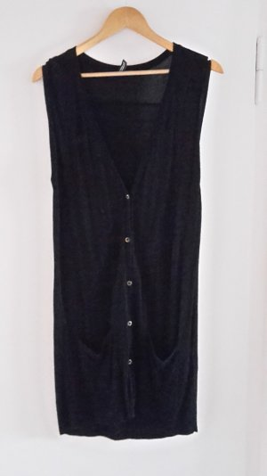 H&M Long Knitted Vest black viscose