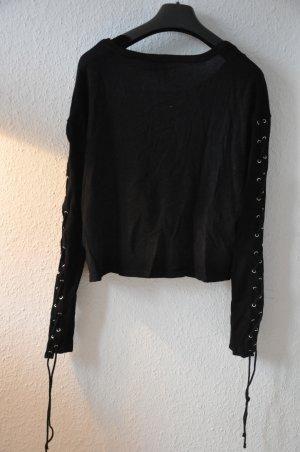 H&M schwarzer Feinstrickpullover, cropped, mit Bändern an den Ärmeln Gr S
