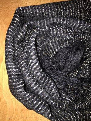 H&M Bufanda de flecos negro-color oro