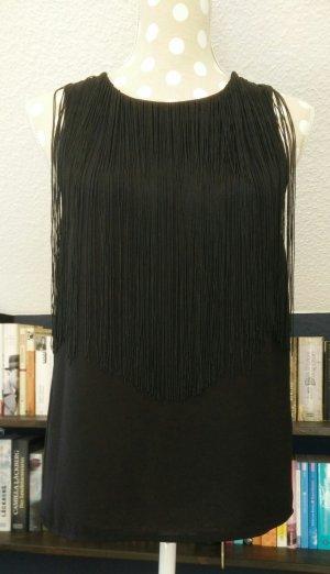 H&M schwarzes Blusentop mit Fransen Gr. 34