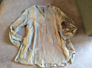H&M Blusa de manga larga marrón grisáceo-gris Seda