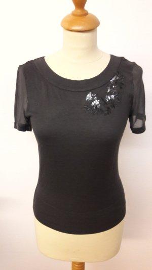 H&M Seiden Shirt S Pailletten Applikationen NEU