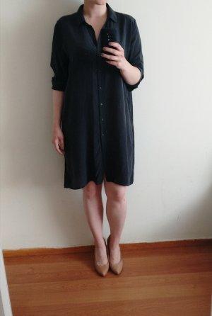 H&M Seidentunika Gr. 42 40 dunkelgrau Seide Tunika Shirt Longbluse