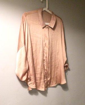 H&M seidig leichte Sommer Bluse in rosé Gr M L 38 40 42 nude Satin