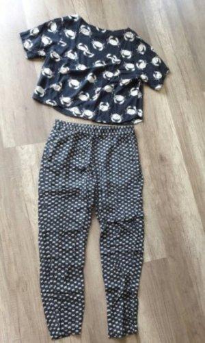 H&M Set Kombi Anzug Zweiteiler Cropshirt Shirt Hose Sweatpants Krebse Krabben