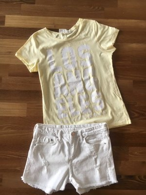 H&M Set°weiße kurze Jeans-Shorts + hellgelbes KA-Shirt m. Print°S/36°NEU, nur gewaschen