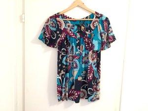 H&M Shirt 34 / XS Kurzarm Bluse Türkis violett blau Top Zustand Paisley Muster