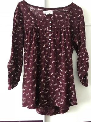 H&M Shirt bordeauxrot mit Blumenprint