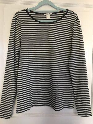 H&M Shirt khaki / weiß Streifen Gr. M