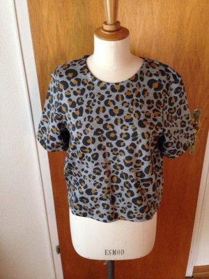 H&m Shirt Leoparden Muster grau gelb gr S oversize NEU