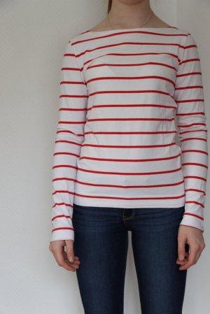 H&M Gestreept shirt wit-rood Gemengd weefsel