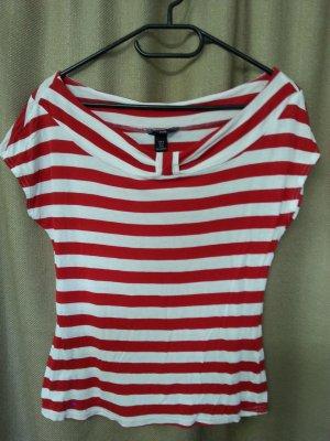 H&M Shirt maritimer Look weiß rot geschreift