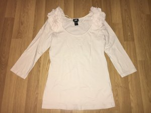 H&M Shirt Pullover 3/4 arm Creme Rüsche