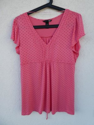 H&M – Shirt, rosa mit roten Punkten – Gebraucht, fast wie neu