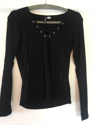 H&M Shirt schwarz gerippt Gr. M