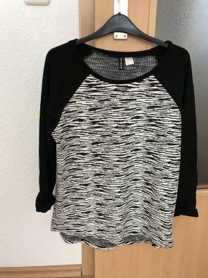 H&M Shirt Sweatshirt Schwarz Weiß 38 3/4 Ärmel