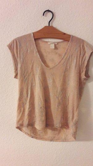 H&M Shirt T-Shirt Silber Nude V-Neck Metallic