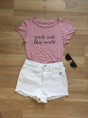 H&M Shirt Top Hemd Bluse Croptop Altrosa Vintagrosa Rosa Rose Pink Schwarz XS 34 neu