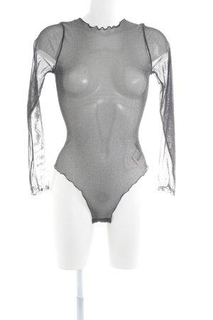 H&M Shirt Body black-silver-colored glittery