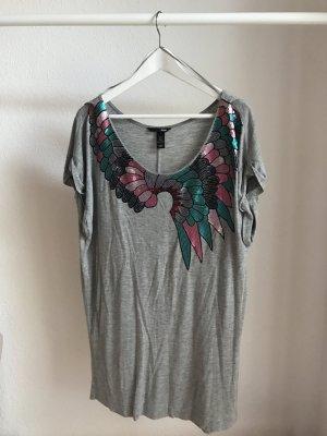 H&M Shirtkleid grau Pailetten Details