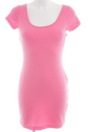 H&M Vestido estilo camisa rosa neón look casual