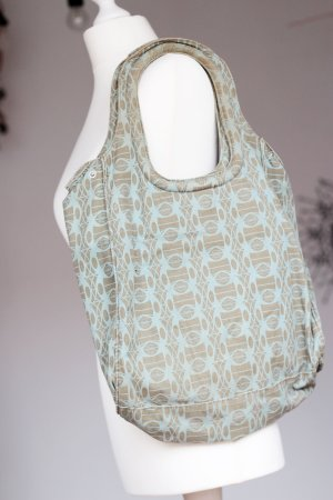 H&M Divided Pouch Bag light blue-grey brown cotton
