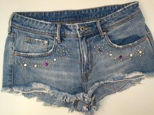H&M Short 38 M Hotpant Sommershort Short Jeans Used Glitzer blau Denim
