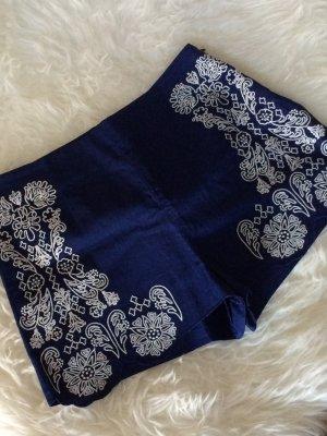 H&M Shorts 38 M neu blau bestickt Stickerei Sommer