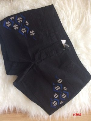 H&M Shorts 38 M neu schwarz bestickt