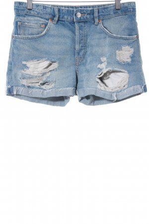 H&M Shorts hellblau Destroy-Optik