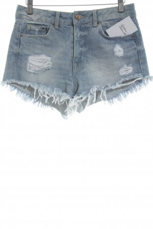 H&M Shorts kornblumenblau Destroy-Optik