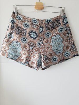 H&M Shorts, orientalisches Muster, Jacquardstoff, Gr.36, türkis/beige