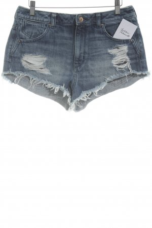 H&M Shorts stahlblau Destroy-Optik
