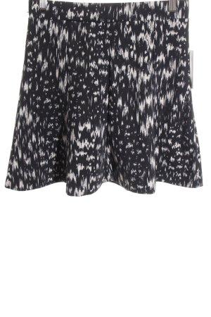H&M Skaterrock schwarz-creme abstraktes Muster sportlicher Stil