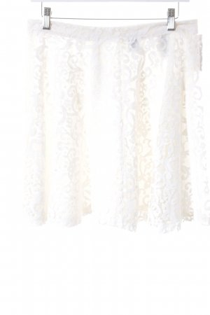 H&M Skaterrock wollweiß florales Muster Romantik-Look