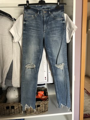 H&M Skinny Ankle High Waist Jeans destroyed