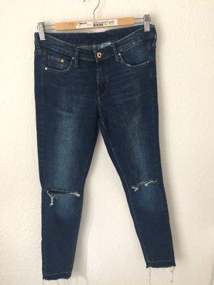 H&M Skinny Ankle Jeans Destroyed Dunkelblau