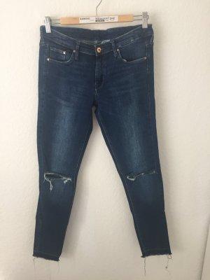 H&M Skinny Ankle Jeans mit Rissen Dunkelblau