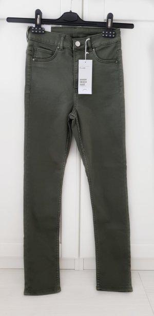 H&M Skinny High Waist Jeggings olivengrün W26 L30
