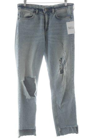 H&M Skinny Jeans himmelblau-wollweiß Destroy-Optik