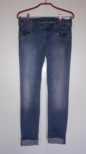 H&M Skinny Jeans Low Waist blau mit Zippertaschen Used-Look Gr. 27/30