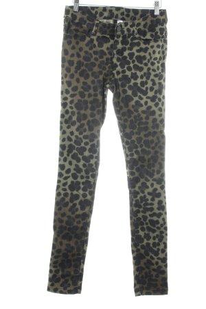 H&M Vaquero skinny verde oliva-marrón-negro estampado de leopardo
