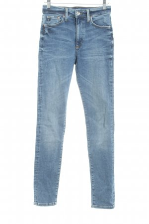 H&M Skinny Jeans stahlblau Washed-Optik