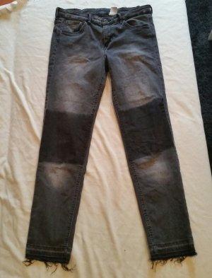 H&M Slim Fit Ankle Jeans Grau Gr. 42 Regular Waist