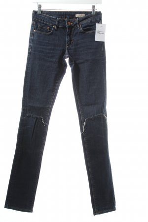 H&M Slim Jeans dunkelblau Destroy-Optik