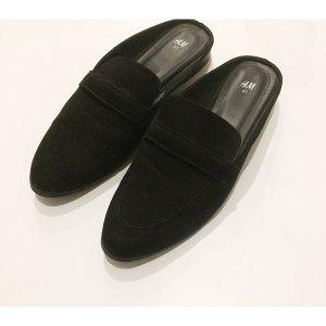 H&M Slipper Pantoletten Schwarz 40/41 Blogger Schuhe Sommer Must-Have Loafer Kunstleder wie Neu